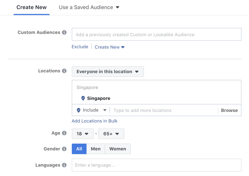 FB Ads Targeting on Demographic, Location, and Language